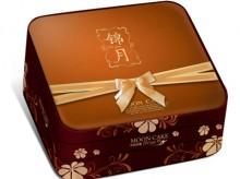 咖啡色面锦月双层天地盖锦布月饼包装盒