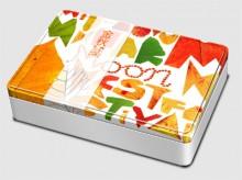 金秋印象长形天地盖铁质月饼包装盒